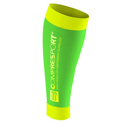 Compressport Gambaletti a Compressione Calf R2 Race and Recovery, Fluo Green