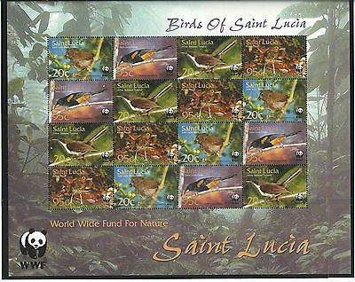 St. Lucia 2001 Endangered Species sheetlet SG1242-45 mnh.
