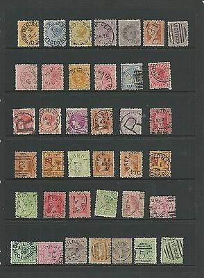Victoria QV vals to 4d, 38 stamps selected for postmark interests.