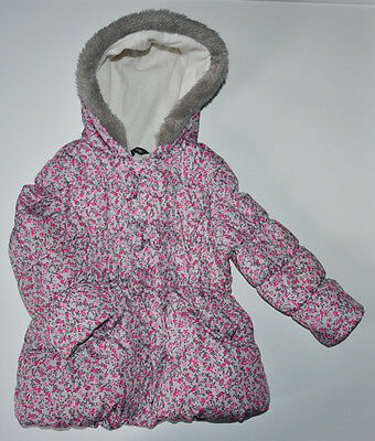 George Girl Puffa Jacket Coat 3-4 Years Warm Winter Hooded Padded Floral Nursery