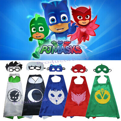 Superhero Cape PJ Masks Cape & Mask Costume Kids Girls Boys Gekko Owlette Catboy