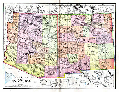 Arizona and New Mexico Map 1897 Antique US State Map  Detailed Cities Rivers