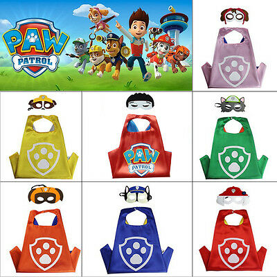 Paw Patrol Superhero Kids Cape & Mask Costume Party Set Chase Skype Marshall