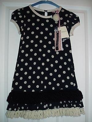 NEW MONNALISA luxury polka dress, size 7 years  cost £101