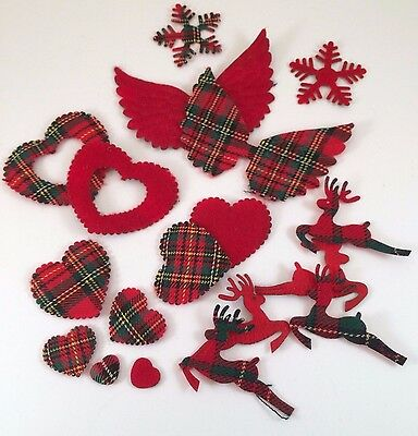 Christmas Crafts Pack of Tartan Embellishments Die Cut Shapes Card Making  x 20