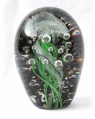Glass Jellyfish 4.25 in. Tall  Green Paperweight Ocean