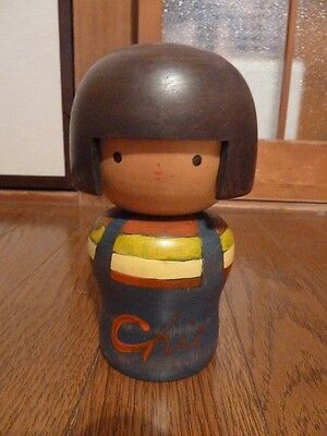 """Cute Girl "" Japanese vintage kokeshi doll by Chie"