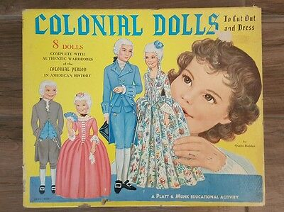 """Vintage 1960""""s Colonial Dolls of Early American History/Paper Dolls/Queen Holden"""