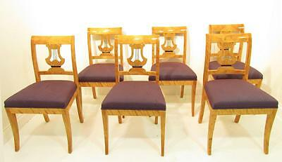 A Good Set of Six Solid Satin Wood Antique Style  Dining Chairs