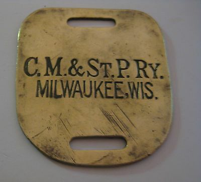 Scarce Antique C.m. & St. P. Railway Railroad Solid Brass Baggage Tag Milwaukee
