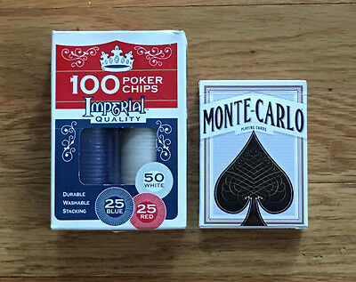 Poker Chips & Deck of Cards Set GREAT CHRISTMAS STOCKING STUFFER