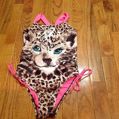 Girls Justice One Piece Leopard Print Bathing Suit Size 10