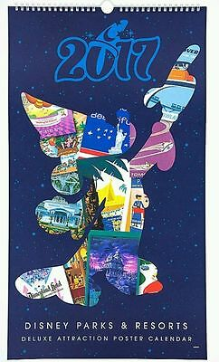 Disney Parks & Resorts 2017 Deluxe Large Attraction Poster Calendar NEW