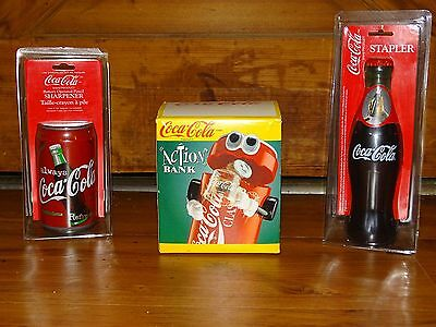 Coke  Pack  Pencil Sharpener ,stapler And Action Bank New