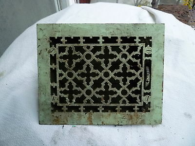 Victorian Fancy Cast Iron Floor Grate Heat Register Louvers & Surround Salvage