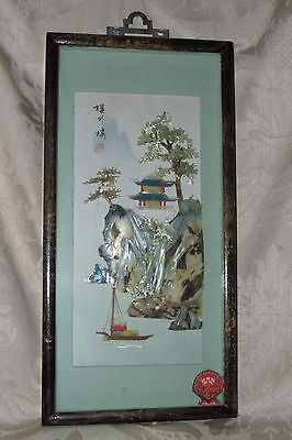 Vintage Antique China 3D PICTURE BOX Shell Mountain View Asian Oriental Signed