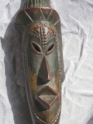 Vintage African WOOD FACE See Through MASK Tribal Native Ceremonial Estate 60CmL