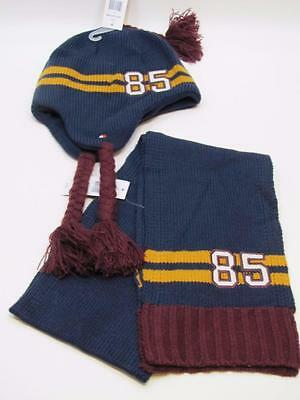 NWT Boys Tommy Hilfiger Beanie Hat with Marching Scarf Blue Burgandy Yellow  4-7