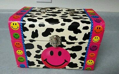 Vintage Lisa Frank cow print smiley face box chest htf