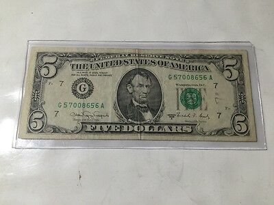 Series 1988 A $5 Dollar Federal Reserve Note