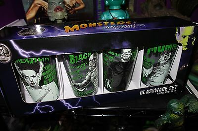 Universal Monsters Boxed Set 4 Glasses Glass Creature Frankenstein Bride Mummy