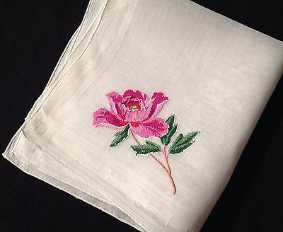 Exceptional Hand Needlework Red Rose. Lovely Handkerchief, Woven & Hand R