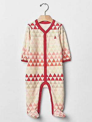 1951a99c685 GAP Baby Girls Size 3-6 Months Pink Red Geometric Velour Footed One-Piece
