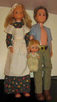 1973 Mattel First Edition Sunshine Family Dolls with Rare Rubber Baby