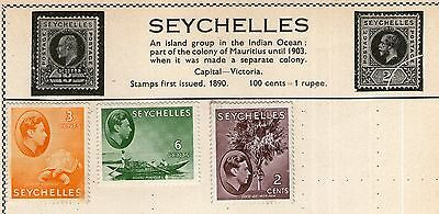 Seychelles Stamp Collection on Old Album Page -  MH