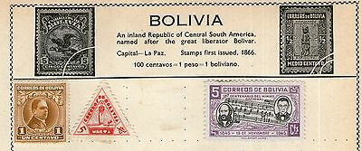Bolivia Stamp Collection on Old Album Page - MH