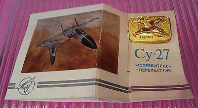 Pin On Card~Russian Cy-27 Fighter~Also Says Su-27 Fighter~Card Was Folded~Cool!