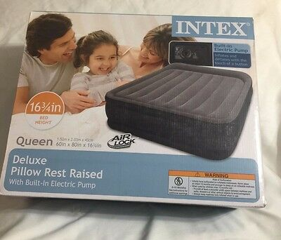 "INTEX Deluxe Pillow Rest Raised 16 3/4""Airbed With Built-In Electric Pump"