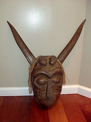 Antique Vintage Large Hand Carved Wood Face with Horns Mythical Theatrical