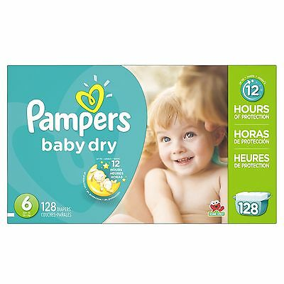 Pampers Baby Dry Diapers Economy Pack Plus Size 6 128 Count, NO SALES TAX, NEW