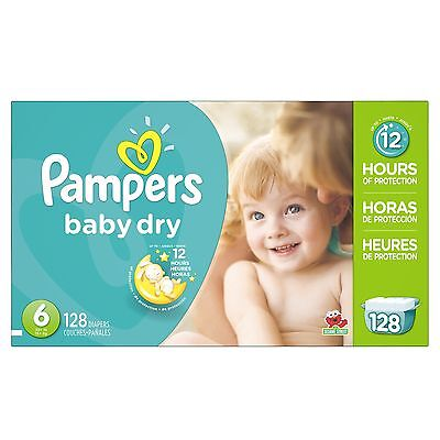 Pampers Baby Dry Diapers Economy Pack Plus Size 6 128 Count, FREE SHIPPING, NEW