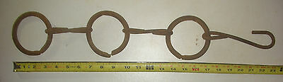 Rusty Iron Chain w/ Large Rings Plant Hanger Farm Tool Vintage Garden Decor ack