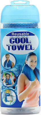 Reusable Cooling Towel Sports Exercise Cool Relief Blue PVA Chamois 44 x 43 cm