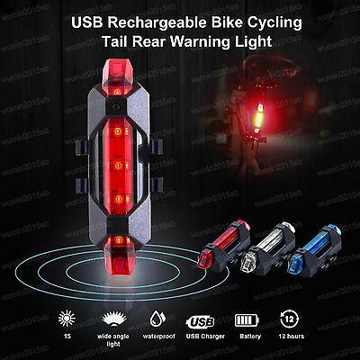 Warning Bicycle Tail Light USB Rechargeable 5LED Waterproof Front Rear Bike Lamp
