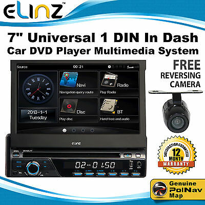 "7"" Universal 1 DIN In Dash Car DVD Player GPS MULTIMEDIA PLAYER BLUETOOTH IPOD"