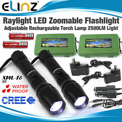 2x Flashlight CREE LED Zoomable Rechargeable Torch Lamp Light 2500LM Camping