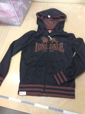 Lonsdale Black With Brown Detail Zip Front Jacket, Xs