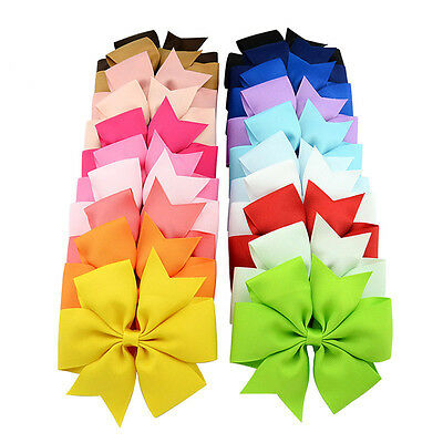 "20 Colors Baby Girls Kids 3"" Grosgrain Ribbon Boutique Hair Bows Alligator Clips"