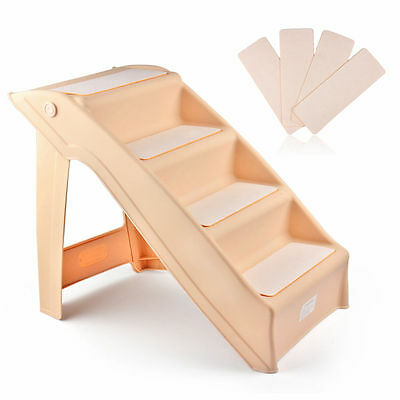 Folding Pet Stairs Dog Cat Step Ramp Ladder Large Portable for Tall Bed in Beige
