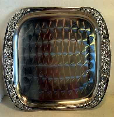 Vintage Stainless Steel Drinks Serving Tray with Circular Pattern, Japan (4543)