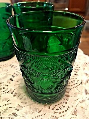 Anchor Hocking Forest Green Sandwich 4 Water Tumblers
