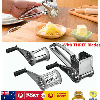 Stainless Steel Kitchen Craft Rotary Cheese Grater With 3 Drum Slicer Shred Tool