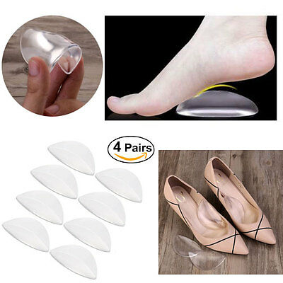 4 Pairs Silicone Gel Cushion High Heel Shoes Insole Feet Arch Care Support Pad