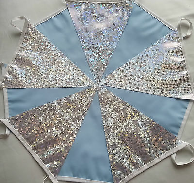 10ft /3m Frozen Silver Holographic Fabric & Blue Bunting Handmade Winter Wedding