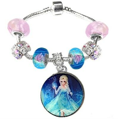 Girls Princess Elsa 16cm Pink Aqua Blue European Charm Bracelet Disney Frozen