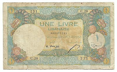 Lebanon Liban Banknote 1 Livre 1945 P48a French Rule VG Cedar Tree Rare